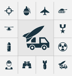 combat icons set collection of panzer aircraft vector image