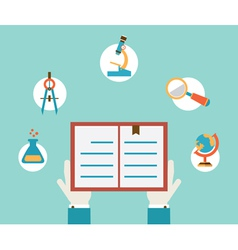 Concept of study Hands holding book vector image