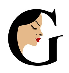 Faces in alphabet G- logo for skin tanning vector image