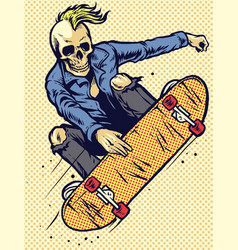 hand drawing style skull play skateboarding vector image vector image