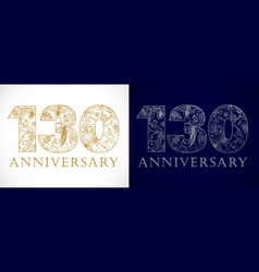 130 anniversary vintage gold vector