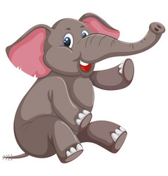 A cute elephant on white background vector