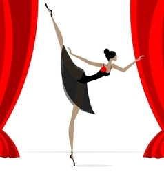Abstract ballet dancer in black vector