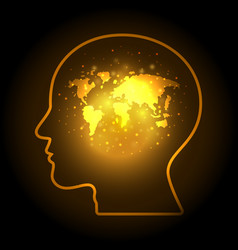 abstract world map human head bokeh design vector image