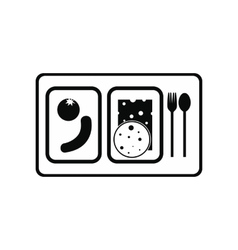 Airplane lunch black simple icon vector
