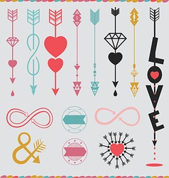 arrows with love set vector image