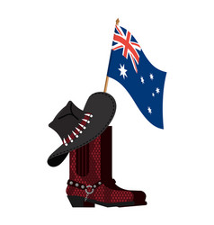 Australia flag and australian hat and crocodile vector