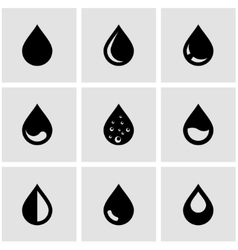 Black drop icon set vector