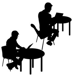 Black silhouette two men sitting behind computer vector