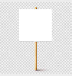 Blank protest sign with wooden holder realistic vector