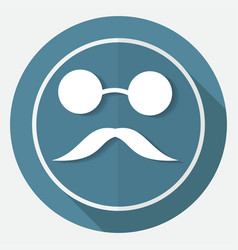 Bowler hat and moustache on white circle with a vector