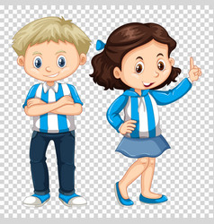 boy and girl in blue costume vector image