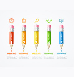Business infographic color wooden pencil banner vector
