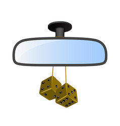 Car mirror with pair of brown dices vector