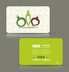 Card set eco design organic foods shop or vegan vector image