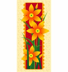 card with orange flowers vector image
