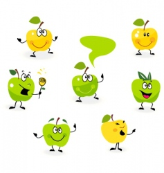 cartoon apple characters vector image