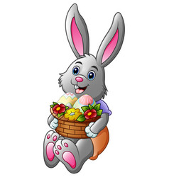 cartoon easter bunny holding a basket full of eggs vector image