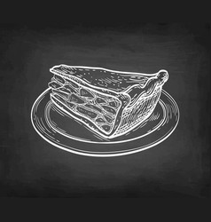Chalk sketch apple pie vector