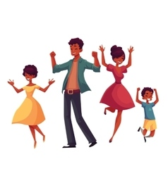 Cheerful cartoon style family jumping from vector image