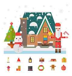 Christmas and New Year santa gifts at home Flat vector