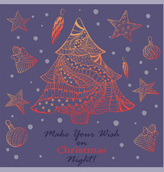 Christmas greeting card with ornated fir tree vector