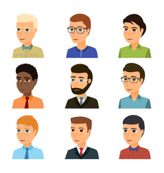Collection of avatars of various young men vector
