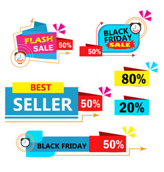 colorful sales banner on white background vector image
