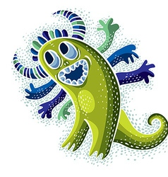 cool cartoon happy smiling monster simple weird vector image