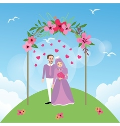 couple married Islam woman girl wearing veil vector image