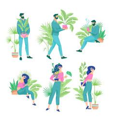 crazy plant couple set vector image