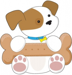 cute puppy and snack vector image