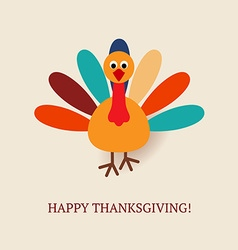 cute turkey bird for happy thanksgiving vector image