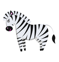 Cute zebra cartoon flat sticker or icon vector