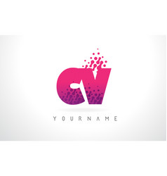 Cv c v letter logo with pink purple color and vector