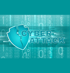 Cyber attack background with broken shield vector