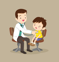 Doctor is seeing a small boy vector