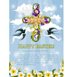easter crucifix cross flowers poster vector image