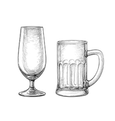 Empty beer glass and beer mug vector image