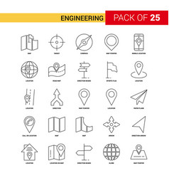 engineering black line icon - 25 business outline vector image