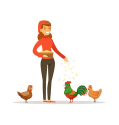Farmer woman feeding chickens poultry breeding vector