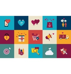 Flat design set for icons for Valentines day vector image