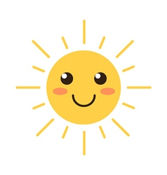 Flat design smiling cartoon sun vector image