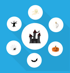 flat icon halloween set of fortress terrible vector image
