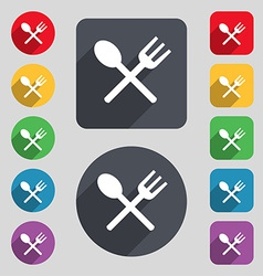 Fork and spoon crosswise Cutlery Eat icon sign A vector