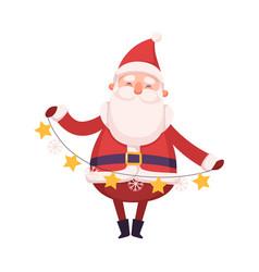 Funny santa claus holding garland cute christmas vector