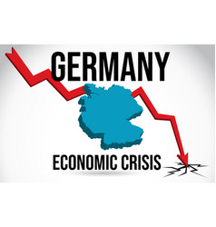 Germany map financial crisis economic collapse vector