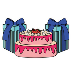 gifts boxes presents with sweet cake vector image