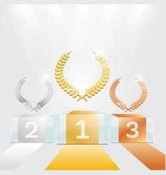 Glass winner podium with spotlights and laurel vector