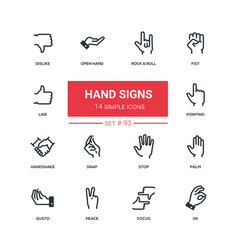 hand signs - flat design style icons set vector image